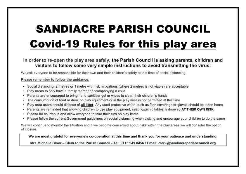 Sandiacre Parish Council Play Area Rules - Covid 19