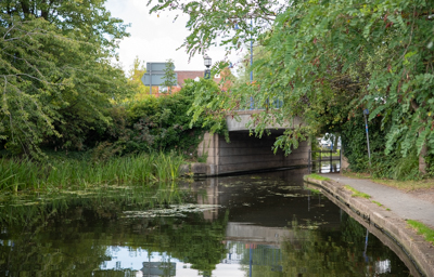View of the bridge over the Erewash Canal in Sandiacre Village Centre