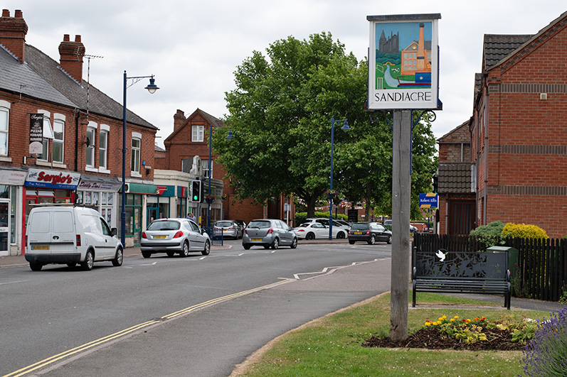 A view showing Sandiacre's Village Sign and the Village Centre