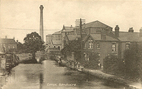 An old photograph of Springfield Mill and the Erewash Canal at Sandiacre