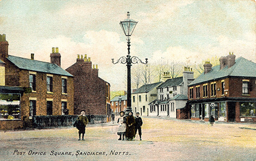 Old postcard showing Sandiacre Post Office Square