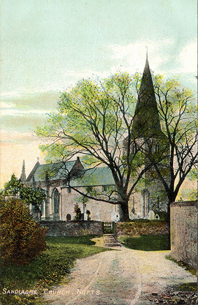 An old postcard of St. Giles' Church