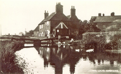 An old photograph of the canal locks at Sandiacre