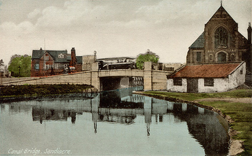 An old image of the canal bridge at Sandiacre